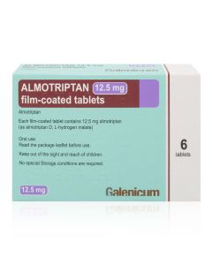 Almotriptan 12.5mg tablets for migraine - Buy online from Medicine Direct UK Online Pharmacy